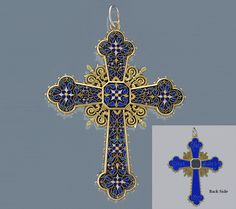 Antique 18 karat Gold, Enamel and Lapis Lazuli Cross. The pendant cross is in a Renaissance Revival style, intricately enameled and backed with lapis lazuli with inlaid gold. Hair locket. 1870's, 3 1/8 inches x 2 3/8 inches wide