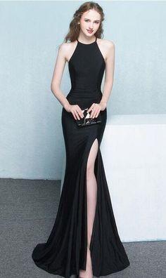 Black Dresses,Long Dresses,Women Dresses,Beautiful Long Front Split Prom Dresses,Charming Simple Cheap Prom Gowns,Evening Gowns,Black Elegant Prom Dress