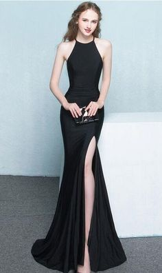 Black Dresses,Long Dresses,Women Dresses,Beautiful Long Front Split Prom Dresses,Charming Simple Cheap Prom Gowns,Evening Gowns,Black Elegant Prom Dress