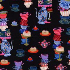 Cotton  Steel Wonderland  mad tea party  black  50cm
