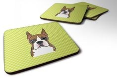 Set of 4 Checkerboard Lime Green Boxer Foam Coasters BB1285FC