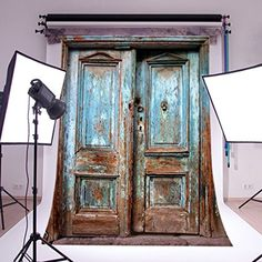 LB 5X7ft Old Door Poly Fabric Photo Backdrops Customized Studio Background Studio Props PJ110