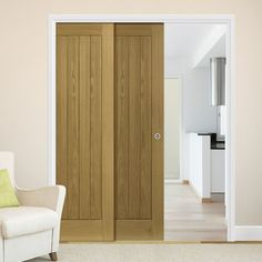 Deanta Twin Telescopic Pocket Ely Oak Veneer Doors.    #telescopicdoors  #pocketdoors  #moderninteriordoors