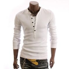Can you hear this scream sex....  Always super sexy when you combine long sleaves with a V or Henley Neck.