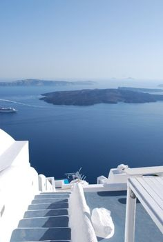 magical caldera of Santorini with view to the volcano island - wonderful