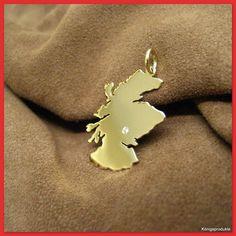 SCHOTTLAND Landkarte Anhänger, 585er Gold & 1 Brillant