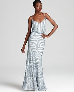 wrong color and long but pretty affordable for long dress and has art deco vibe. Adrianna Papell Beaded Gown - Sleeveless Blouson - Dresses - Apparel - Women's - Bloomingdale'sRegistry