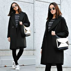 Sunglasses, Zara Squared Sweater, H&M Oversized Coat, Black Jeans, Adidas Superstar, Zara Monochrome Bag