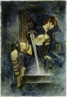 Luis Royo - The Labyrinth Tarot - Minor Arcana: Swords - Queen of Swords No-nonsense, astute, unpretentious, direct, realistic and straightforward, gets to the point, up-front and open, honest and quick-witted, lively intellect, strong character, suppressed emotion, judgemental person.