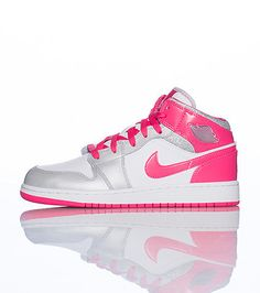 JORDAN Mid top girl's sneaker Lace up closure Iridescent colorway AIR JORDAN bubble logo on side of shoe Cushioned sole for ultimate comfort