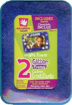 Glitters Foam Frames Picture Area: 3.5-inch-by-5.5-inch Rectangle 2-pack, Blue and Green Get Smart