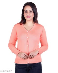 Checkout this latest Sweaters Product Name: *Ogarti woollen full sleeve V neck peach Women's  Cardigan* Fabric: Acrylic Pattern: Solid Multipack: 1 Sizes:  L (Bust Size: 18 in, Length Size: 23 in, Waist Size: 17 in, Hip Size: 18 in, Shoulder Size: 13 in)  Country of Origin: India Easy Returns Available In Case Of Any Issue   Catalog Rating: ★3.9 (359)  Catalog Name: Pretty Glamorous Women Sweaters CatalogID_1497601 C79-SC1026 Code: 394-8766037-9911