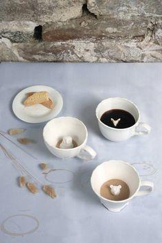 Hidden Animal Teacups: Choose fox, owl or bear. Made of ceramic. $24 #Teacup #Ceramic #Animal_Cups
