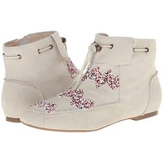 House of Harlow 1960 Monty Women's Shoes, White ($85) ❤ liked on Polyvore featuring shoes, boots, ankle booties, white, side zipper boots, leather boots, house of harlow 1960, white boots and side zip boots