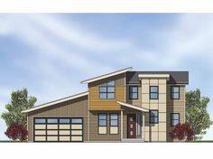 Contemporary-Modern House Plan with 1719 Square Feet and 3 Bedrooms on