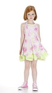Perfect for Easter. Kate Mack Garden Sweets Halter Dress – Florals are always popular in the springtime, and this cheerful pink and green rose print is particularly pretty. Cleverly paired with a cheerful green and white seersucker gingham, this halter dress has a handkerchief hemline and eyelet and ruffle trim that make it a standout!