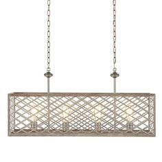 Home Decorators Collection Wallace Manor Collection 35 in. Gilded Pewter Linear Chandelier with Interweaving Open Cage Frame - The Home Depot Linear Chandelier, Gold Chandelier, Chandelier Lighting, Coastal Chandelier, Chandeliers, House Lighting, Ceiling Light Fixtures, Pendant Light Fixtures, Ceiling Lights
