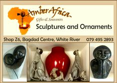 Beautiful range of ornaments and hand made sculptures available at Amber Africa, art ideal for gifts or awards for the home or business. Enhance the design of your home with our Sculptural art.  Visit our locally based store at Shop Z6, Bagdad Centre White River to view our range.