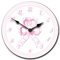 Shop for on Etsy, the place to express your creativity through the buying and selling of handmade and vintage goods. Pink Clocks, White Clocks, Clock For Kids, Pink Kids, Girl Room, No Frills, Bows, Unique Jewelry, Handmade Gifts