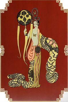 Asian Princess Suite BAMBOO Chic Original Vintage ERTE Art