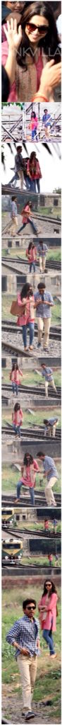 What is Deepika Padukone upto in these stills from the movie sets Piku? She is seen with co-star Irrfan Khan and it seems like they are at a railway station. The shoot is currently taking place in Kolkata.