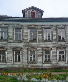 Beautiful traditional old house, now abandoned. Town center of Arkhangelsk, Russia