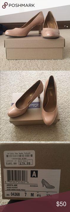 Clarks heels. Nude Clarks heels. Brand new, never been worn. Size 7. Clarks Shoes Heels