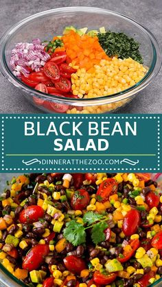 A colorful and fresh black bean salad with assorted vegetables and avocado in a zesty lime dressing. recipes with chicken Bean Salad Recipes, Healthy Salad Recipes, Lunch Recipes, Vegetarian Recipes, Cooking Recipes, Healthy Salad For Lunch, Bean Salad Vegan, Avocado Bean Salad, Simple Salad Recipes