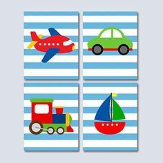 Transportation Nursery Wall Art, Transportation Kids room Decorations, Boy Nursery Wall Art, Cars Plane Train Boat Wall Art- UNFRAMED Set of 4 PRINTS (NOT CANVAS)