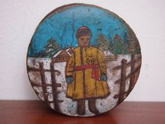 Antique Russian carved painted wooden folk art box Young peasant boy winter