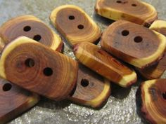 12 Rectangular Tree Branch Buttons Arborvitae by PymatuningCrafts, $10.00