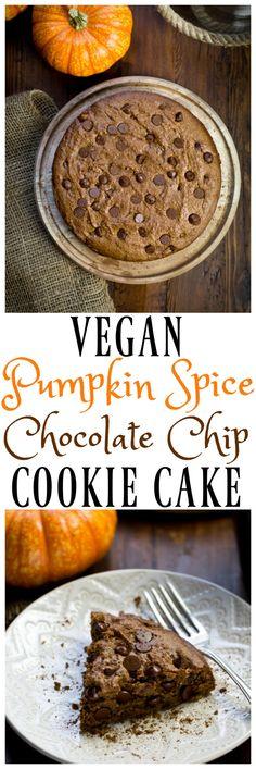 Vegan Pumpkin Spice Chocolate Chip Cookie Cake! Just 8 easy whole food ingredients and takes just minutes to make! Made with pumpkin, nut butter, molasses, maple syrup and lots of pumpkin spices! So good and fudgy and dense. A real crowd-pleaser! via @thevegan8