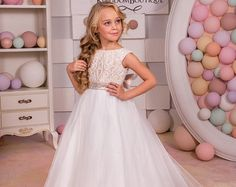 White and Blue Lace Flower Girl Dress Birthday Wedding Party