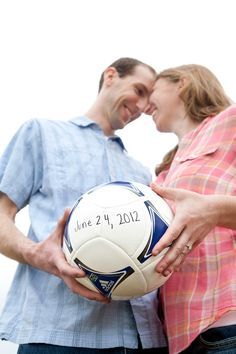 Definitely going to incorporate soccer into my wedding! sports save the dates, baseball save the dates #wedding #sports