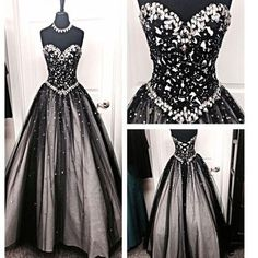 New Black Strapless Sweetheart Rhinestones Ball Gown Formal Prom Dresses.RG0170