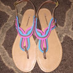 Flat pink & blue sandals Like new flat  pink & blue sandals City classified Shoes Sandals