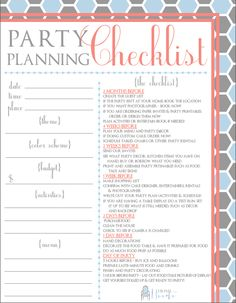 Party Planning Organized Free Printables Included  Party