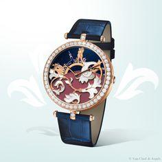 Van Cleef & Arpels Lady Arpels Bal du Siècle Poetic Complications™ timepiece, Bals de Légende collection. Pink gold, white mother-of-pearl, diamonds.