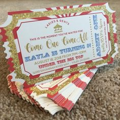 The Greatest Showman Ticket Invitation Having a circus or Greatest Showman themed celebration? Your birthday child will go crazy over thes Circus Carnival Party, Circus Theme Party, Carnival Birthday Parties, First Birthday Parties, Birthday Party Themes, Diy Carnival, Circus Party Decorations, Birthday Ideas, Carnival Dress