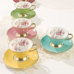 Aynsley Elizabeth Rose Collectors Cups and Saucers