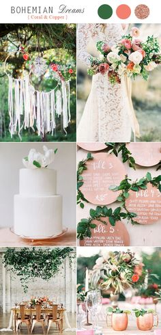 Metallic Coral & Copper Boho Wedding Color Schemes