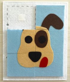 Give the Dog A Bone Quiet Book Page- Customize To Look Like Your Pet! This busy / quiet book page made from felt uses a karabin .This busy / quiet book page made from felt Diy Quiet Books, Baby Quiet Book, Felt Quiet Books, Quiet Book For Toddlers, Quiet Book Templates, Quiet Book Patterns, Sensory Book, Toddler Books, Busy Book