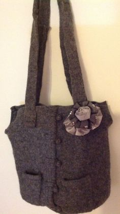 Gray Wool sweater Tote Bag Purse in classic gray. Asian style buttons with two front pockets upcycled by mcleodhandcraftgifts,