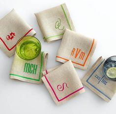Linen Satin Stitch Cocktail Napkins ~ Mark and Graham Embroidery Monogram, Embroidery Applique, Machine Embroidery, Embroidery Ideas, Butterfly Embroidery, Monogram Maker, Monogram Machine, Monogram Fonts, Monogram Initials