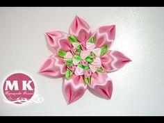 Мастер-класс Канзаши.Цветок из атласных лент c объемными лепестками/DIY....
