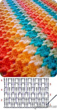 Chevron Crochet Patterns, Crochet Bedspread Pattern, Crochet Mandala Pattern, Crochet Diagram, Crochet Squares, Crochet Blanket Patterns, Crochet Designs, Crochet Waffle Stitch, Plaid Crochet