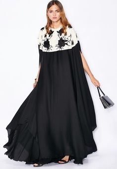 Shop Hayas Closet monochrome Embroidered Cape Abaya for Women in Saudi