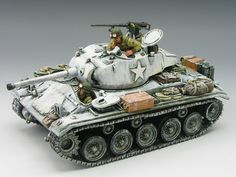 World War II U. Battle of the Bulge Chaffee Tank set - Made by King and Country Military Miniatures and Models. Factory made, hand assembled, painted and boxed in a padded decorative box. Excellent gift for the enthusiast. Plastic Model Kits, Plastic Models, M24 Chaffee, Winter Camo, Sherman Tank, Model Tanks, Model Hobbies, King And Country, Military Modelling