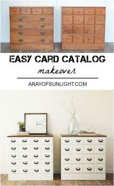 White painted card catalog dresser makeover by A Ray of Sunlight. With a router and card catalog hardware, we easily transformed this Ethan Allen Chest of Drawers into an Apothecary Style Dresser. White Painted Furniture, Small Furniture, Colorful Furniture, Repurposed Furniture, Cheap Furniture, Furniture Plans, Furniture Makeover, Kitchen Furniture, Furniture Online