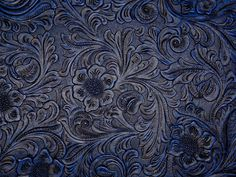 "Vinyl Varied Blue DK Blue Floral Tooled Faux Leather Embossed Fabric 18""X27"" 